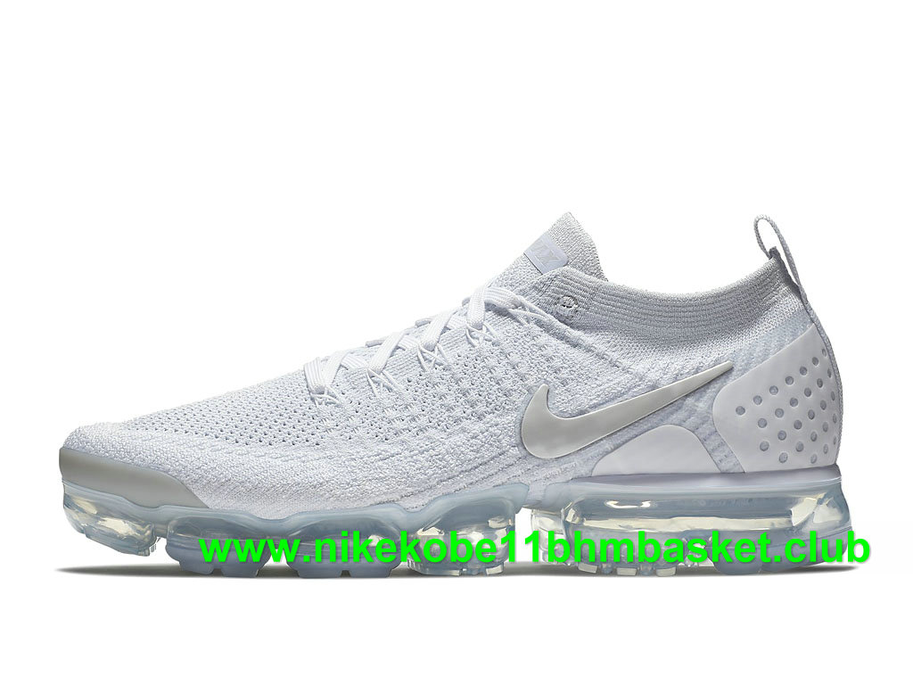 4bf1b3a47f3 Nike Air VaporMax Flyknit 2.0 Homme Chaussures Pas Cher Prix Blanc/Argent  942842_105